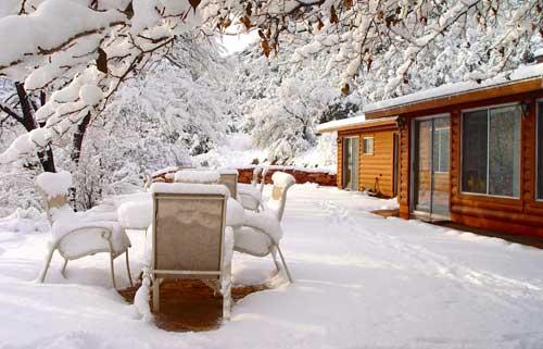 diningroom terrace in snow